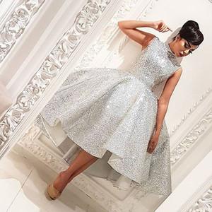 Сексуальное серебристое платье с высоким воротником без рукавов Bling Bling с коротким спереди с длинным задом Дешевые Арабские платья для выпускного вечера