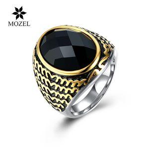 Wholesale MOZEL 316L Stainless Steel European Style Fashion Domineering Male Glass Black Rings Men Jewelry Free Shipping