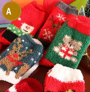 60Pairs / lot Wholesale Sockendamen-Weihnachtsgeschenk der Frauen socken Rotwild Sankt-Winter nette fuzzy Damen 3d verrückte soks weibliche warme Tiersocken