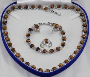 Belles femmes ensemble améthyste collier boucle d'oreille anneau Bracelet style gemmes cristal gros tour de cou ensembles de bijoux pour femmes anime