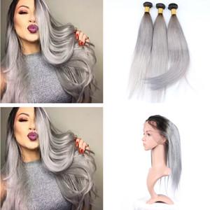 Ombre couleur pré plumé 360 frontal avec cheveux raides 3 faisceaux Ombre 1B gris extension de trame de cheveux humains avec 360 dentelle bande