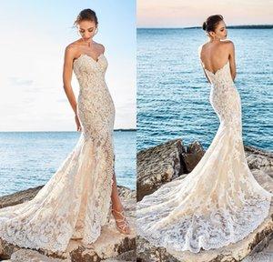 2017 сексуальное русалка пляжные кружевные свадебные платья Милая разрез передние нижние свадебные платья Vestidos De Noiva