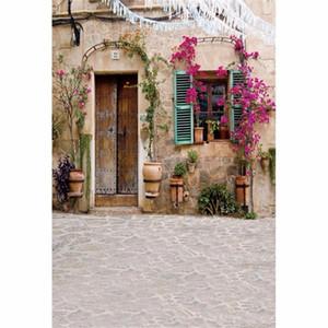 Rustikale Art-altes Haus-Foto-Studio-Hintergrund-Weinlese-Tür-purpurrote Blumen scherzt Kinderfotografie-Hintergrund-Vinyl