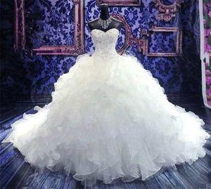 Langer Zug Ballkleid Brautkleider Bargeld bei der Lieferung Vestido Noiva Sweetheart Perlen Puffy Kleid Braut