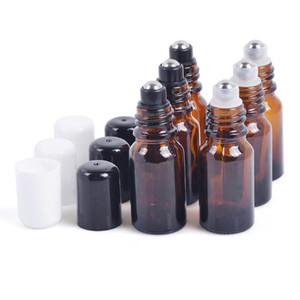 Garrafa de vidro ambarina da bola de rolo 30ml, óleo essencial / recipiente de empacotamento do perfume, composição Sub-engarrafamento F20171614