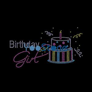 Dazzling Birthday Girl e Cupcake Rhinestone Transfer Iron On Hot Fix Motif