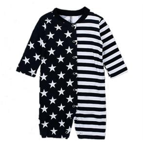 bebé a rayas y estrellas onesie de los bebés en blanco y negro patrón de asimetría del mameluco de los niños lindos trajes para 0-2T