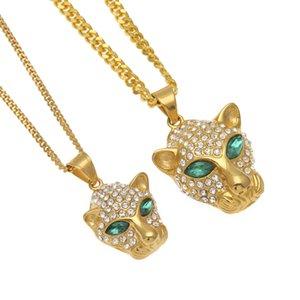 Cadena cubana de cobre titanio Acero Emerald Eyes Leopard Head Chapado en oro Hip Hop Lover Colgante de collar de la joyería