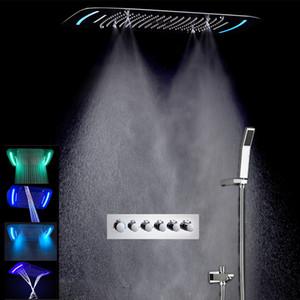 Nouveau Design 430 * 710mm multifonction pluie salle de bains robinet de douche ensemble Led pommeaux de douche au jet thermostatique bain avec douchette