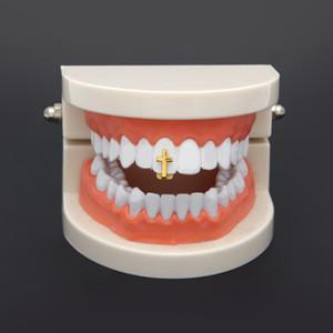 Новый серебряный позолоченный крест Hip Hop Single Tooth Grillz Cap Top Bottom Гриль для Halloween Party Fashion Jewelry
