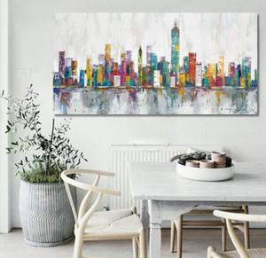 2016 New York Skyline Cityscape Архитектура Яркие абстрактные стены искусства маслом на холсте Краски Главная Украшение номера A011