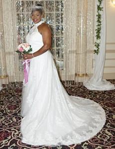 High Neck Mermaid Plus Size Abiti da sposa senza maniche in pizzo Sweep Train Abiti da sposa 2019 Top Quality Vestido de Noiva