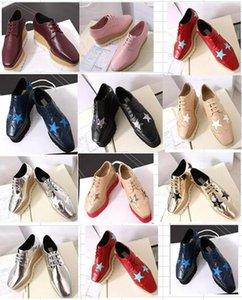 2017 yeni toptan Siyah Stella Mccartney Ayakkabı Kadın Platformu Elyse Kama Ayakkabı Çift platform Topuk Derbys Kama Dantel-up ayakkabı
