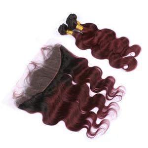 Бургундия Ombre Virgin Перуанские человеческие волосы 3 Пучки с фронтальной объемной волной 1B / 99J Wine Red Ombre Кружевная фронтальная застежка 13x4 с переплетениями