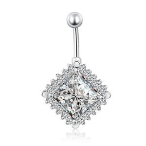 Big-Platz Diamond Clear Zirkonia Surgical Bauch-Piercing Körper-Schmuck Bauchn Ringe Medizinische Edelstahl-Nabel-Piercings