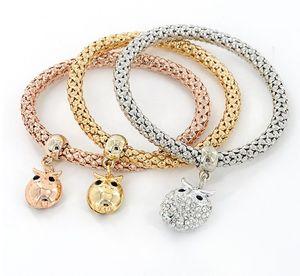 Pulseras del estiramiento de la cadena de maíz del oro del búho de 3 piezas del búho para las mujeres