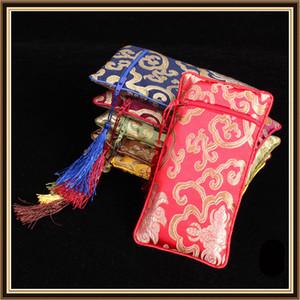 Alargar borla Zip bolso monedero de viaje de seda brocado collar de la joyería bolsas de regalo peine bolsa de almacenamiento de estilo chino Craft Packaging 50 unids / lote