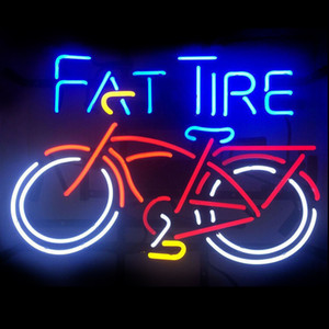 Новый Ручной Fat Tire Bike Bike Настоящее Стеклянные Трубки Пивной Бар Паб Дисплей неоновая вывеска 19x15 !!! Лучшее предложение!