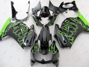Пластиковые обтекатели Ninja 250R 2010 ABS обтекатель EX250 08 09 черный зеленый пламя полный обвесы EX 250 2014 2008 - 2014