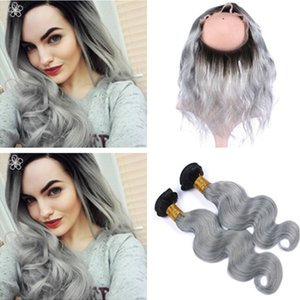 Two Tone 1B / Grey Ombre Peruano Virgin Hair 2Bundles con 360 Frontal Body Wave Silver Silver Ombre 360 ​​Band Lace Lace Closure con tejidos