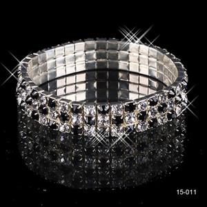 15011 Billig auf Lager freies Schiff Beliebtesten Elastische 3 Reihe Schwarze Perle Hochzeit Armbänder Party Brautschmuck für Mädchen