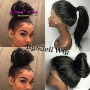 En Kaliteli Uzun Düz Doğal Saç Dantel Ön Peruk Tutkalsız Sentetik Isıya dayanıklı Saç Ucuz Dantel ön peruk Siyah / Beyaz Kadınlar için