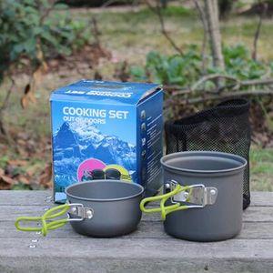 2pcs / Set DS-101 Cooking Set Panelas Outdoor Pan Outdoor Camping Caminhadas Mochila Cozinhar piquenique bacia Pan para 1-2 Pessoa CCA6562 30set