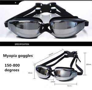 قصر النظر نظارات المياه الرياضات المياه السباحة للماء HD مكافحة الضباب نظارات نظارات السباحة سباق نظارات الطلاء قصر النظر مربع التعبئة 426