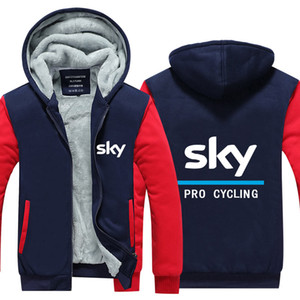 Новая Горячая осень зима команда небо Procycling Толстовки Sweatershirts Толстые ватки куртки пальто EU US Плюс Размер