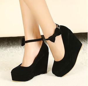 2020 SICAK Seksi Kadınlar Moda Toka Bayan Ayakkabıları takozları Yüksek Topuklar Platformu siyah yay tenis feminino Sapato feminino ücretsiz gönderim S42 pompaları