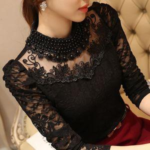 Sexy Lace Chiffon Tops Otoño Mujer Blusas Camisas Más tamaño blusa de encaje manga larga Casual camisa con cuentas blusas Mujeres clothing