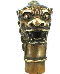 SUIRONG 715 +++ Laiton Asiatique Chinois Vieux Sculpté À La Main Dragon Statue Collection Bronze Bâton De Marche Tête