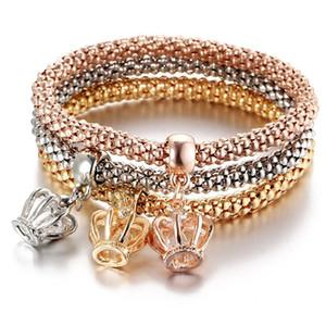 3pcs set Vintage Charm Bracelets Popcorn Chain Bracelets Crown Bangles Rose Gold Filled Full Crystal Christmas Gifts