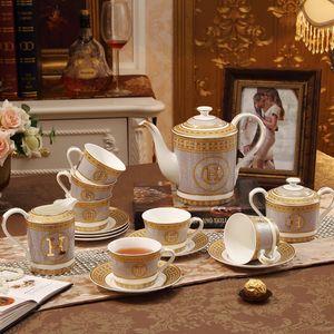 """Porselen kahve seti kemik çini """"H"""" mark mozaik tasarım anahat altın 15 adet Avrupa çay seti cezve kahve sürahi fincan seti"""
