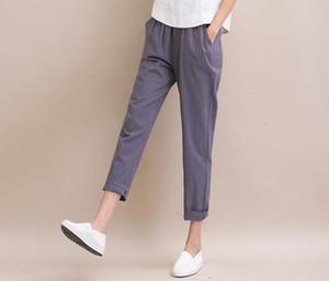 Free shipping Art Fan Fan cotton candy color female summer new fashion casual thin linen harem pants PW004 Women's Pants & Capris