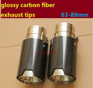 10pcs TOP quality INLET 63MM OUTLET 89MM Car Carbon Fiber Exhaust End Tips for BMW 1 3 5 SERIES