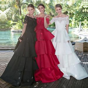 Robes de soirée hors-la-épaule avec appliques de dentelle perlée manches courtes robe de bal noire avec jupe superposée robes de bal
