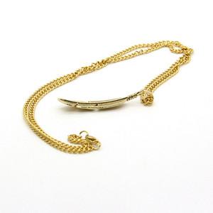 Banhado A ouro e prata banhado a atacado 10 pcs liga de metal pena de aço inoxidável cadeia moda penas pingentes colar