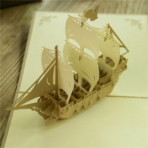 Parfait 3D Pop Up Vintage bateau à voile Design Noël Nouvel An carte de voeux pliant creux Carte d'anniversaire Kirigami Carte postale