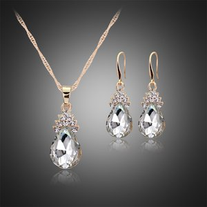 Red Blue Crystal Diamond Water Drop Necklace Earrings Sets Gold Chain Necklace for Women Fashion Wedding Jewelry will and snady drop ship