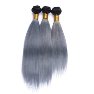 1B / gris plata Ombre armadura del cabello humano Raíces oscuras Ombre extensiones de cabello gris Ombre Virgen recta dos tramas del pelo del tono 3 paquetes