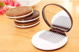 Mode Cocoa Cookies Miroir Miroirs De Maquillage avec Peigne, Unique Pas Cher Sandwich Cooke Miroirs Compacts Femmes Maquillage Accessoires Outils