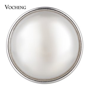 VOCHENG NOOSA 18mm White Simulated Pearl Ginger Snap Charms Interchangeable Jewelry Vn-1781