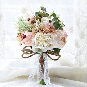 Dantel Düğün Çiçekleri Broş Buketler Buket De Mariage Dış Brides için Kırsal Stil Yapay Düğün Buketler