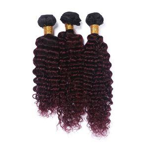 부르고뉴 옹 브 깊은 웨이브 인간의 머리카락 번들 3Pcs / Lot 99J 와인 레드 컬러 헤어 익스텐션 말레이시아 버진 프로세스 헤어