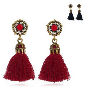 2017 neue Mode Vintage Lange Quasten Ohrringe Für Frauen schmuck Baumeln imatetation Diamant retro Ohrringe Großhandel Freies Verschiffen