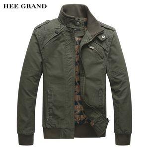 Wholesale- HEE GRAND 2017 Nuovo arrivo moda casual da uomo primavera autunno giacca in cotone collare stand cappotto 4 colori MWJ166