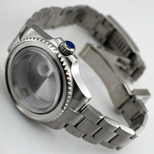 40mm Sapphire glass case for ETA 2836 Mingzhu 2813 3804 Miyota 82 Silver Stainless Steel Watch Case For Mens Watch P620