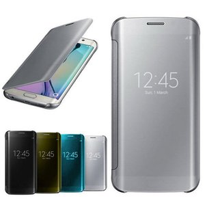 Miroir Clear View Etui Smart Flip Sleep pour Samsung Galaxy S7 Bord S6 Plus Note 5 plaqué Transparent En Cuir En Plastique Shell Couverture De Mode