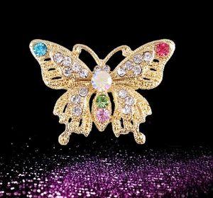 Moda Tendenze Carino coreano colorato mini cristallo farfalla pin spilla per accessori donna spedizione gratuita fibbia collare all'ingrosso